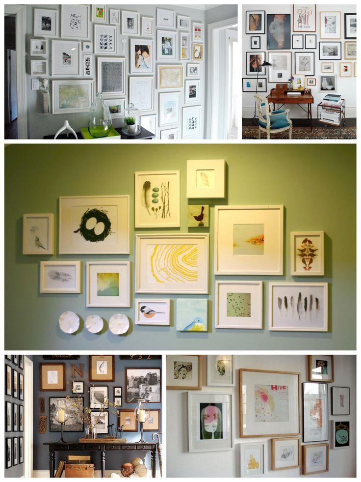 pareti con cornici Idee per la casa, Decorazioni, Cornici