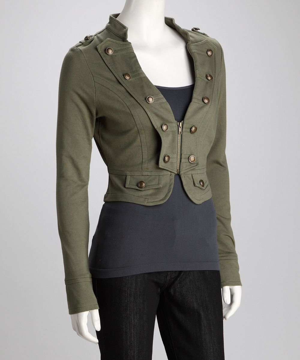 Beetle Military Button Cropped Jacket