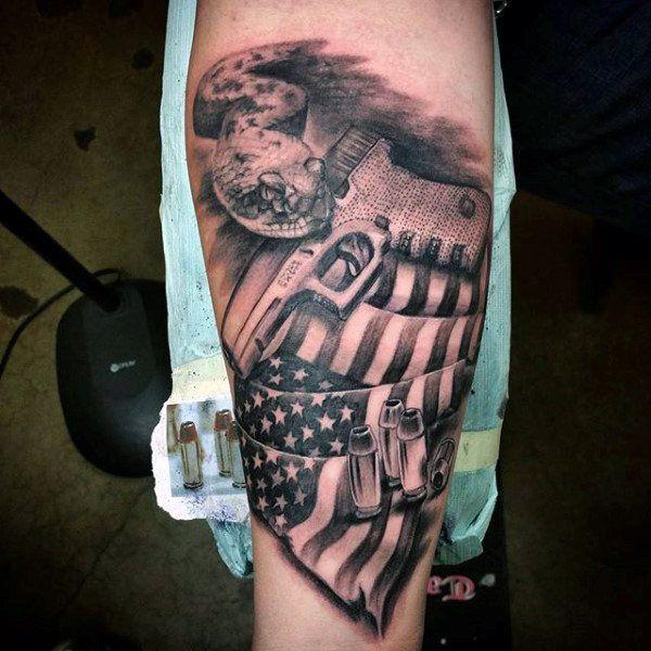 7a6b8381e 50 Gun Tattoos For Men – Explosive Bullet Design Ideas | Tattoo's ...