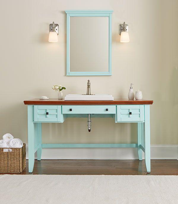 Diy Bathroom Vanity Made From A Desk Bathroom Diy