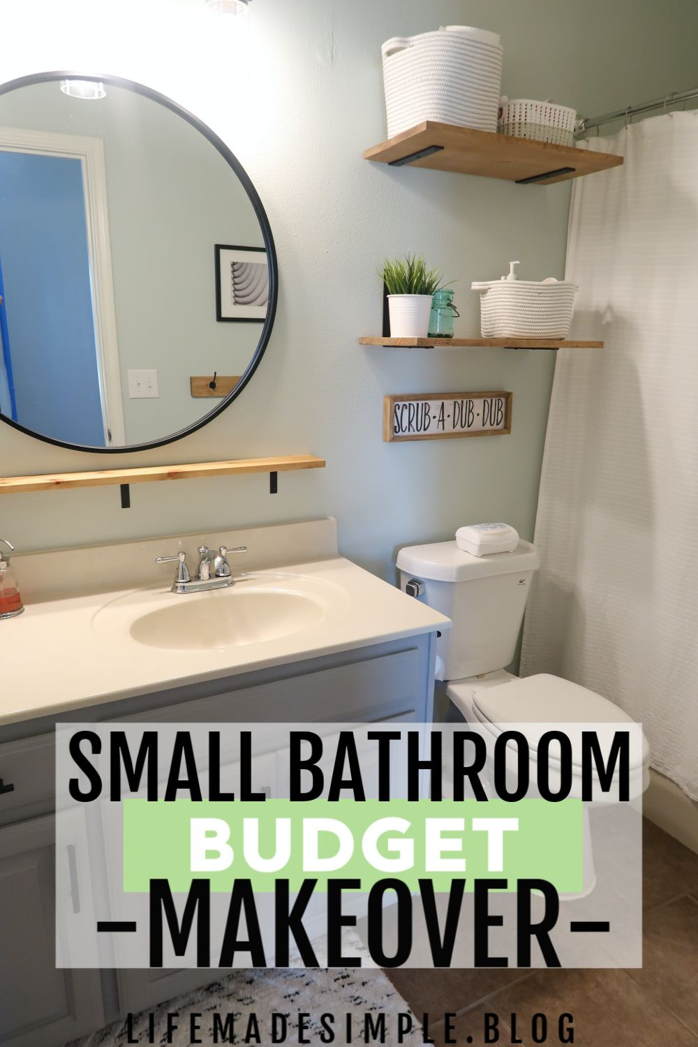 Modern Farmhouse bathroom remodel on a budget. Need bathroom makeover ideas? In this post I show you how I DIYed our spare bathroom remodel for less. Bathroom renovations on a budget | Bathroom remodel on a budget ideas | Low budget bathroom remodel | Bathroom makeover