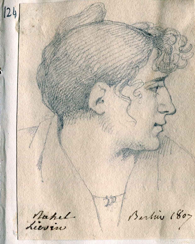 Rahel Levin [Varnhagen] « Rahel Lievin Berlin 1807 », 1807, Bleistift auf Papier, 7 x 9 cm, Paris, Bibliothèque du Conseil d'Etat, Album Houdetot, n°124