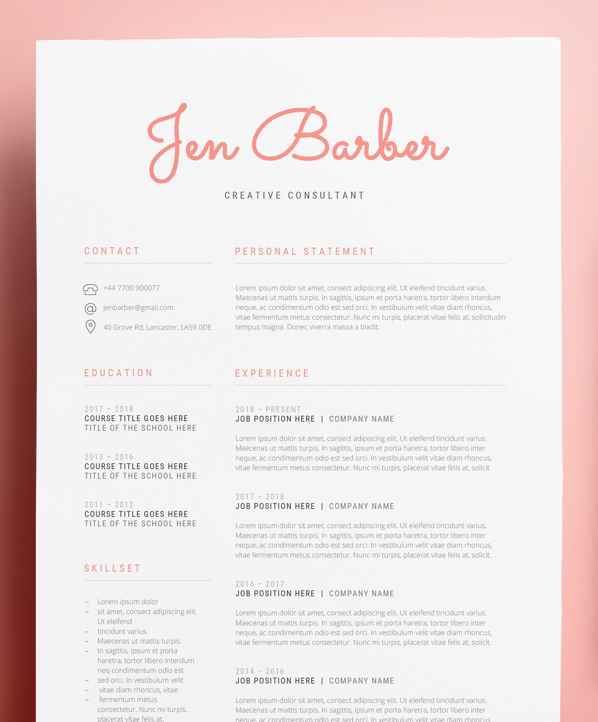 Creative Consultant Resume Cv Word Design Template Download Now Get 15 Via Our Etsy Shop In 2021 Cv Words Resume Template Cv Template