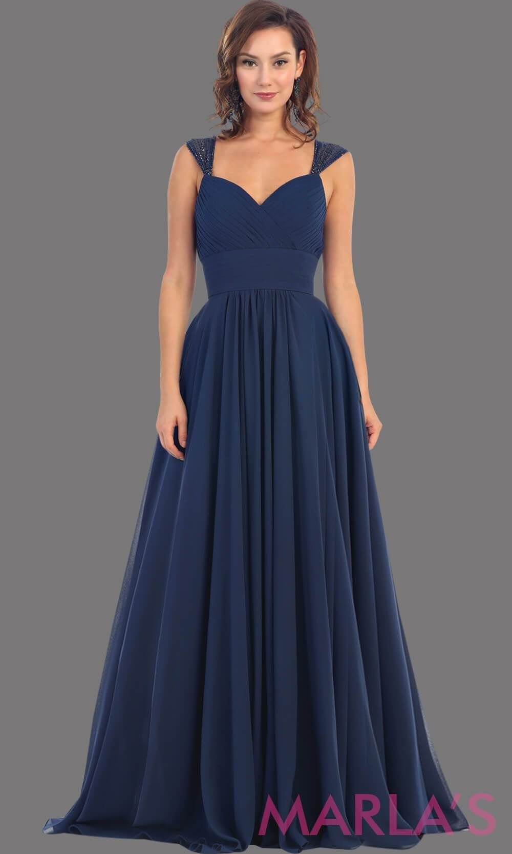 c2265986f715 Long Chiffon Dress with Sequin Wide Straps - Marla's Fashions - 3  #BRIDESMAIDDRESSES #PartyDresses