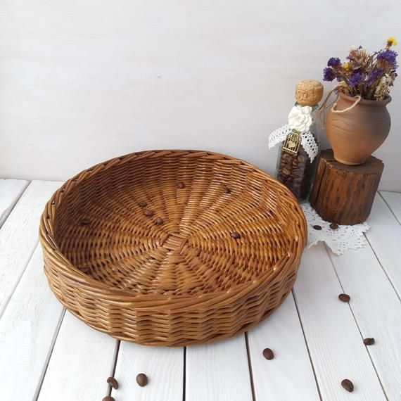 Medium Round Wicker Tray Rustic Ottoman Basket Tray Round Serving Tray Without Handles Decorative Tr Wicker Tray Rustic Ottoman Baskets On Wall