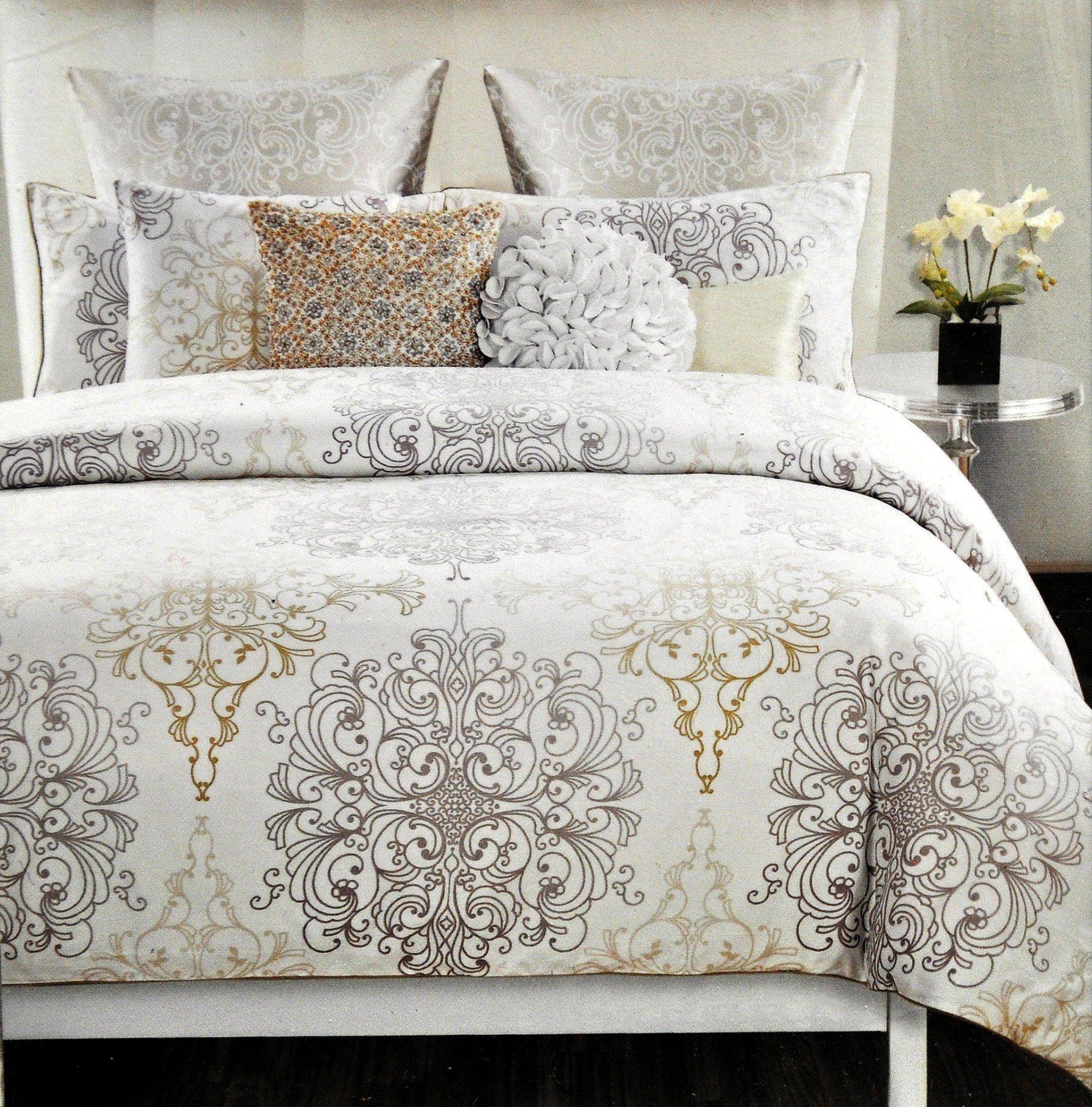 Amazon Com Tahari Home 3pc Full Queen Duvet Cover Set Large