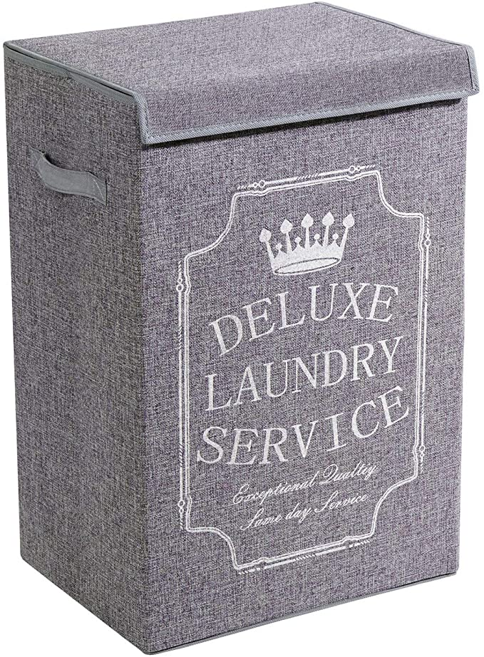 Amazon Com Youdenova Grey Laundry Hamper With Lid Xl High