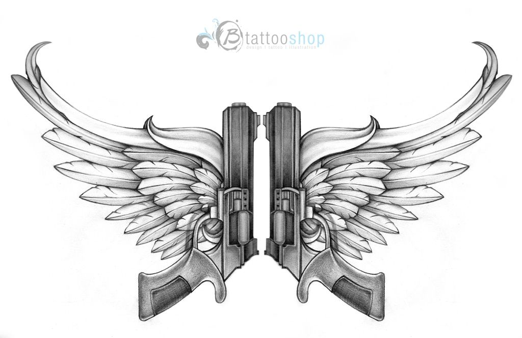 drawings of skulls and guns angel wings with guns tattoo design