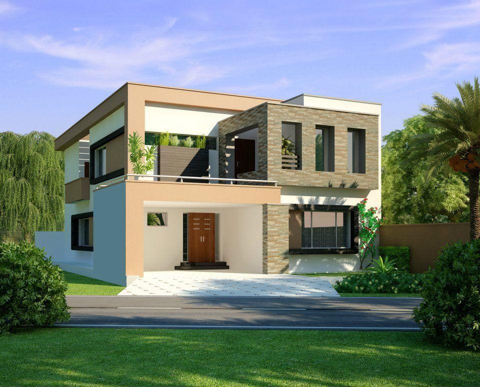 1 Kanal Modern Home Design 3D Front Elevation Lahore Pakistan