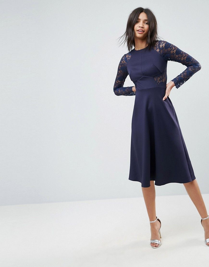Asos Premium Midi Scuba Skater Dress With Lace Sleeves Navy Prom Dresses Long With Sleeves Maxi Dress Prom Long Sleeve Navy Dress