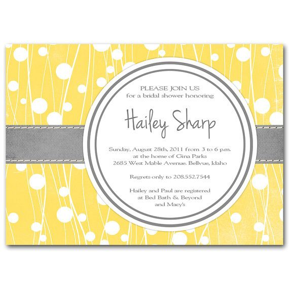 yellow and gray bridal shower invitationbaby shower modern printable digital diy