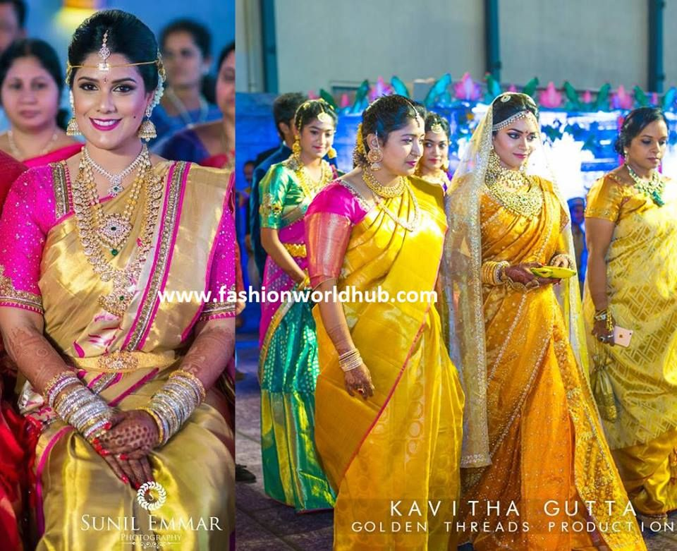Trending Kanjeevaram Sarees From Famous Fashion Designers South Indian Bride Bridal Fashion Jewelry Indian Bride