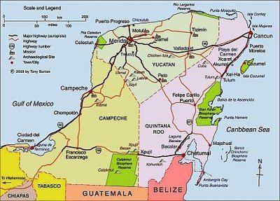 Map of Yucatan peninsula as link to interactive map of Yucatan ... Quintana Roo Map on