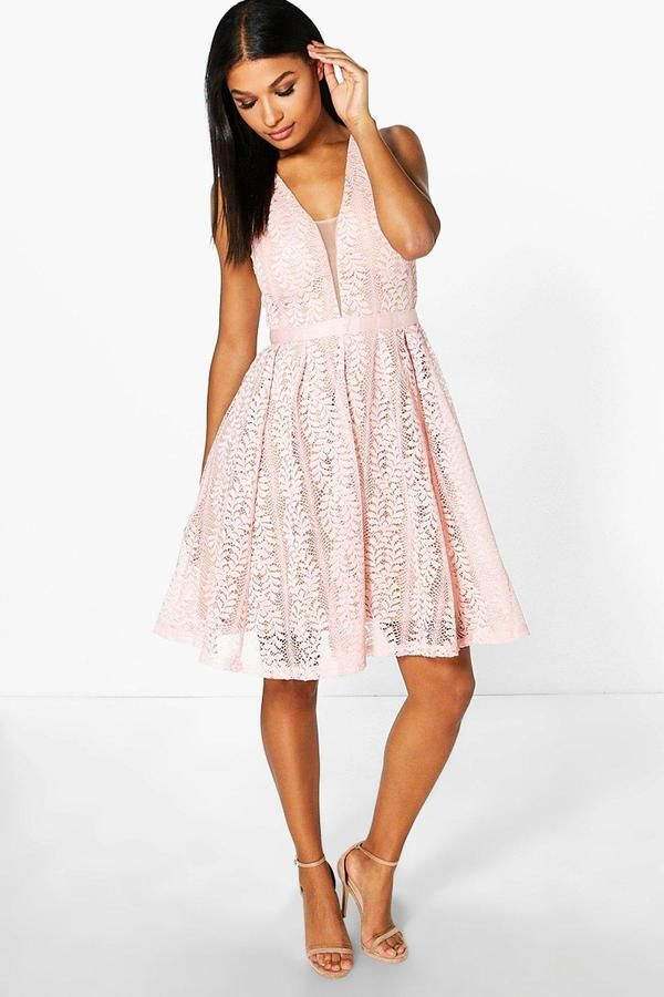 0c983ae61a4 Boutique Zoe All Over Lace Midi Skater Dress by Boohoo. Dresses are the most -wanted wardrobe item for day-to-night dressing. From cool-tone whites to  block ...