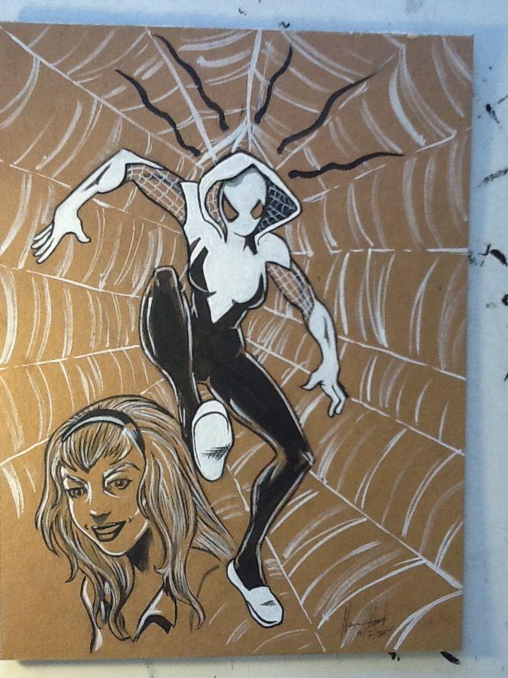 #Spiderwoman drew this after reading #EdgeofSpiderVerse numebr 2 Pen and ink w/ Grey Brushpens on Cardborad  #comicart #art #drawing #SpiderGwen #Spiderman #marvel