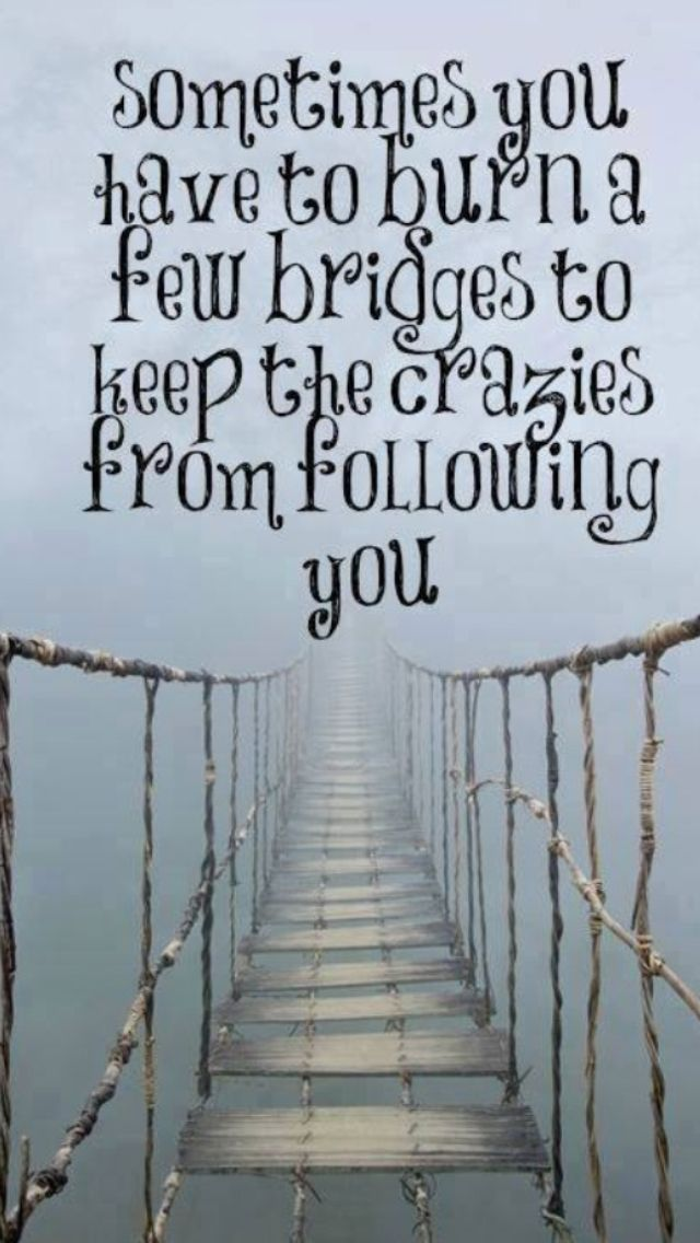 """Quote #433 - """"Sometimes you have to burn a few bridges to keep the crazies from following you."""