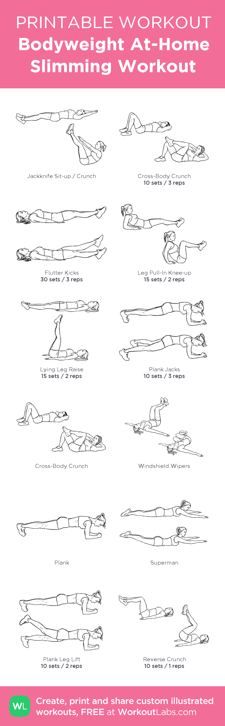 Bodyweight At-Home Slimming Workout: my custom printable workout by @WorkoutLabs #workoutlabs #customworkout