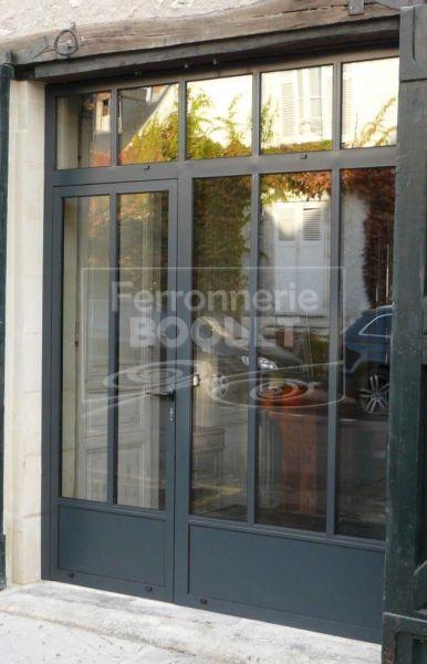 Portes et baies vitrees 2 iron windows entrance doors glass porch et garage loft - Fenetre baie window ...