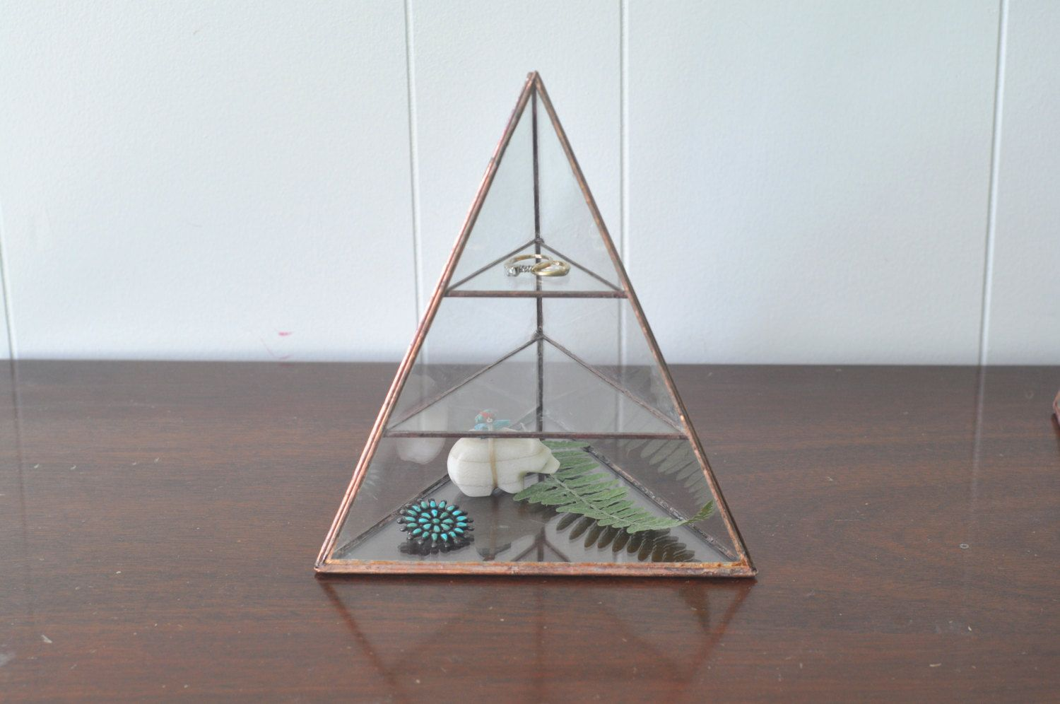 Lyra Pyramid Display Box - glass pyramid - jewelry box - hinged - silver or copper - eco friendly by ABJglassworks on Etsy