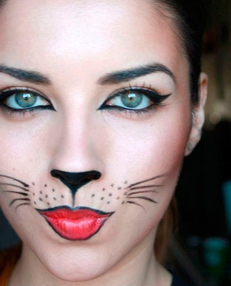 Halloween Schminke Katze.Make Up Fur Halloween Katze Spinnennetze Und Pfeile Katzen Make Up Hase Schminken Maus Schminken