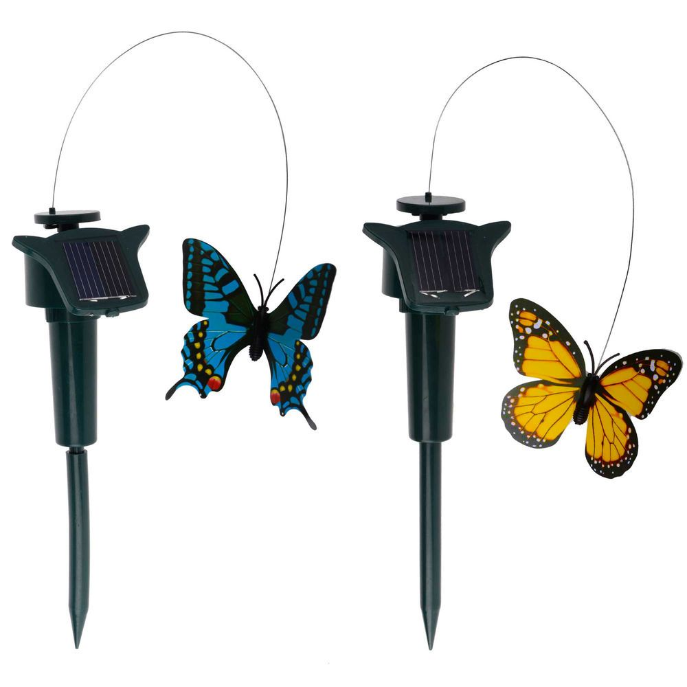 SOLAR POWERED FLUTTERING BUTTERFLIES - GARDEN ORNAMENT - COLOURFUL BUTTERFLY