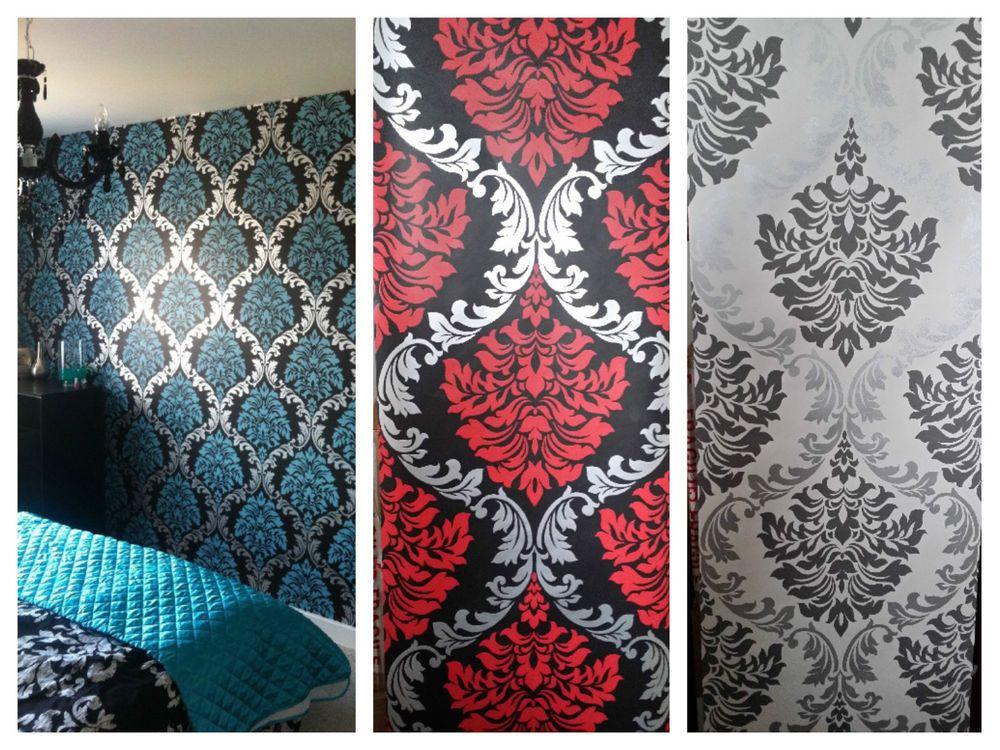 New Designer Aqua Blueteal Silver Black Red Cream Damask Wallpaper Feature Wall