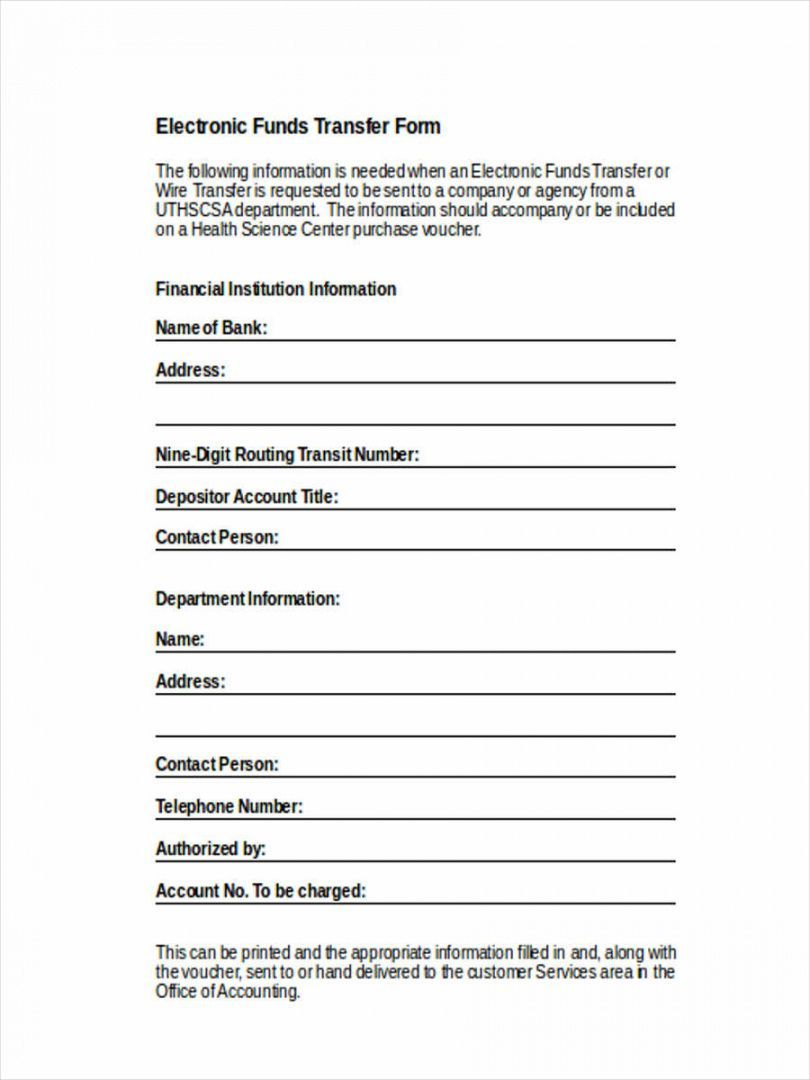 Electronic Funds Transfer Deposit Form Template In 2020