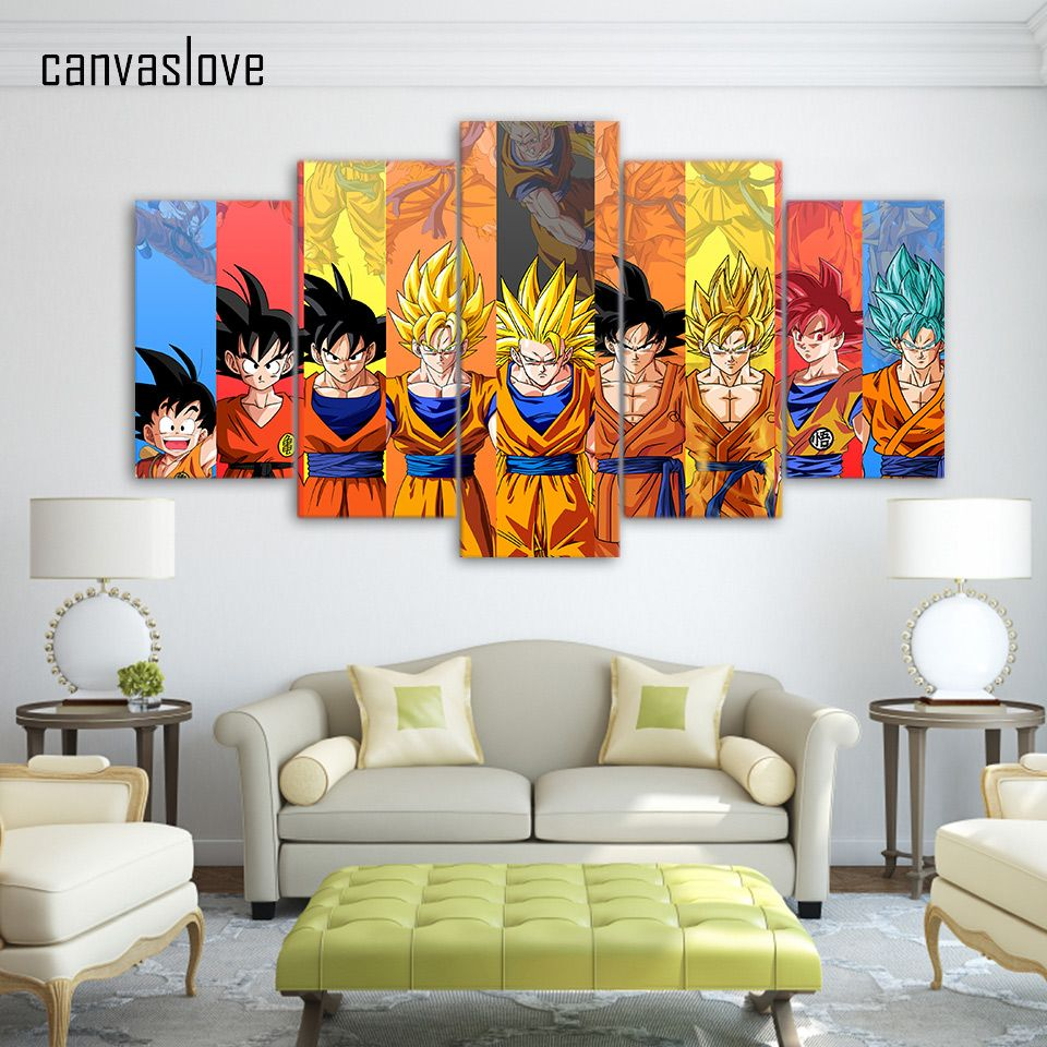 Wall picture 5 piece canvas art dragon ball z poster goku modeling wall picture 5 piece canvas art dragon ball z poster goku modeling canvas painting wall pictures amipublicfo Images