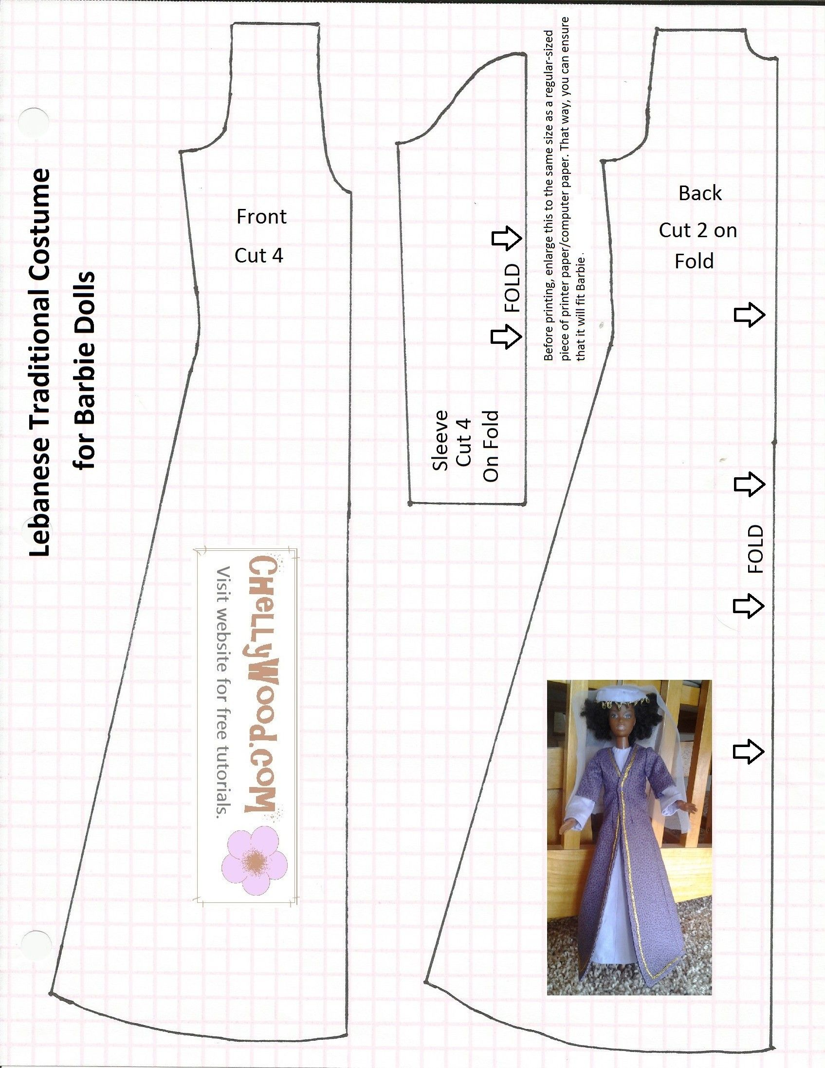 Free sewing patterns for fashion dolls - Image Of Sewing Pattern For Making A Lebanese Traditional Dress That Fits Barbie Sized Fashion