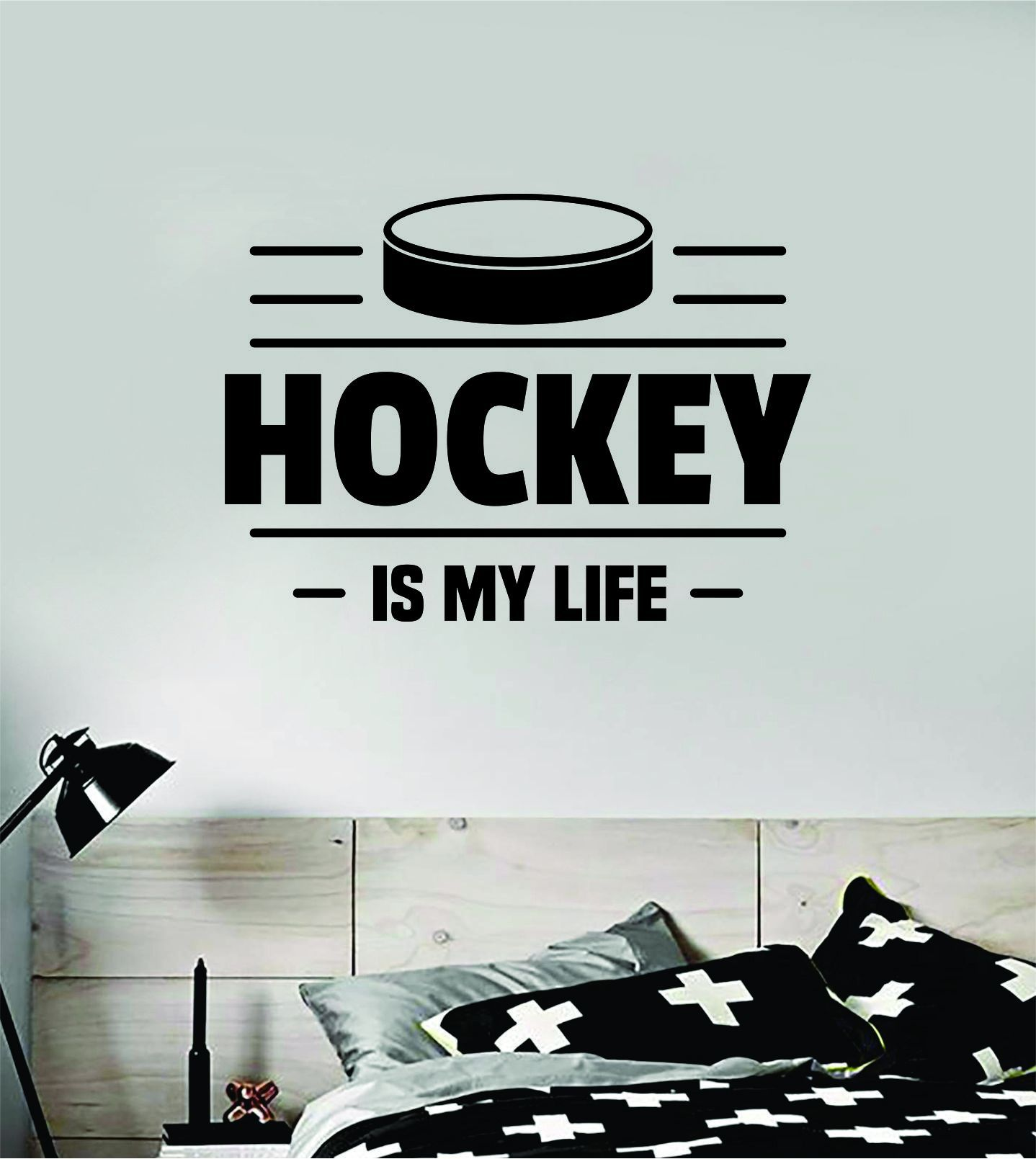 Hockey Is My Life Wall Decal Quote Home Room Decor Art Vinyl Sticker Bedroom Inspirational Sports Teen Winter Ice Goalie Kids - teal
