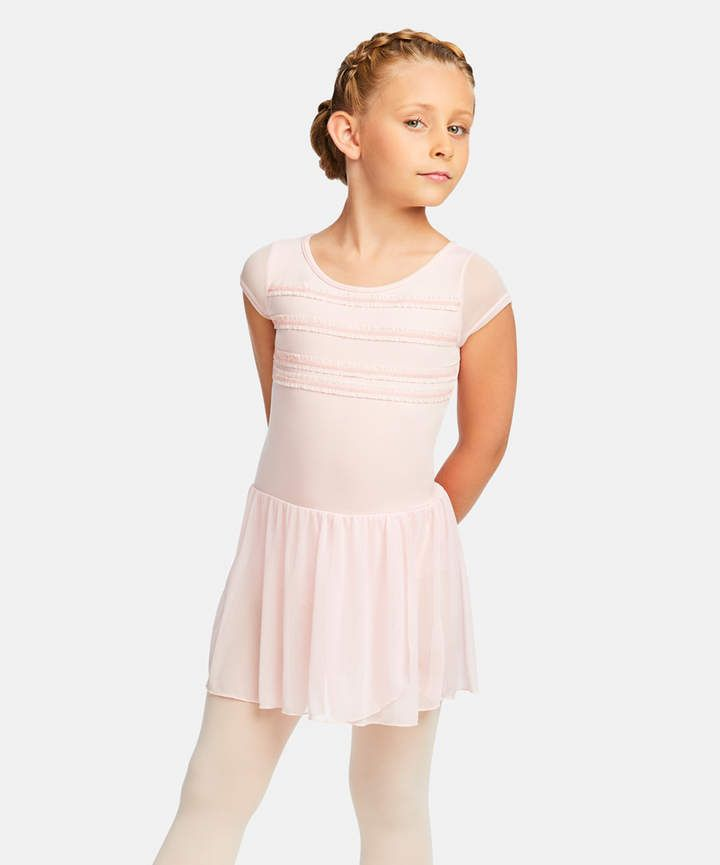bfc10e6a8 Capezio Pink Ruffle-Accent Cap-Sleeve Skirted Leotard - Toddler ...