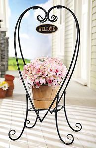 Welcome Decorative Metal Plant Stand Heart Shaped Welcome Porch Deck