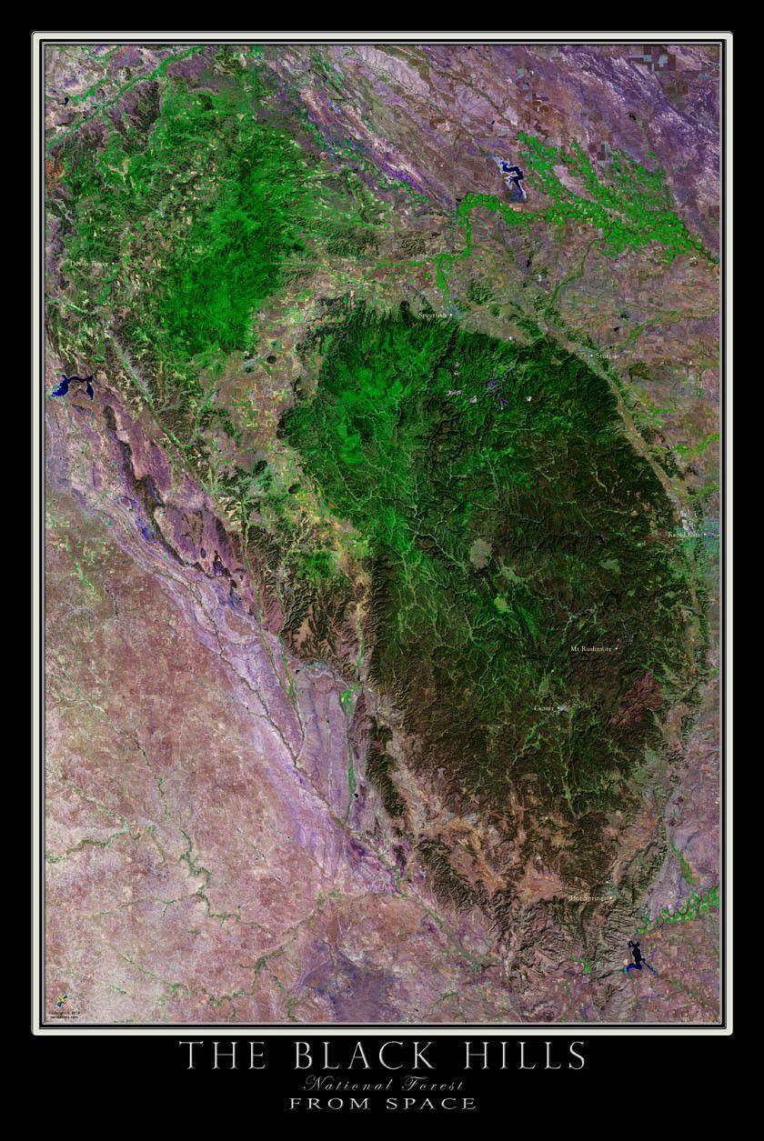 Black Hills National Forest South Dakota Satellite Poster Map