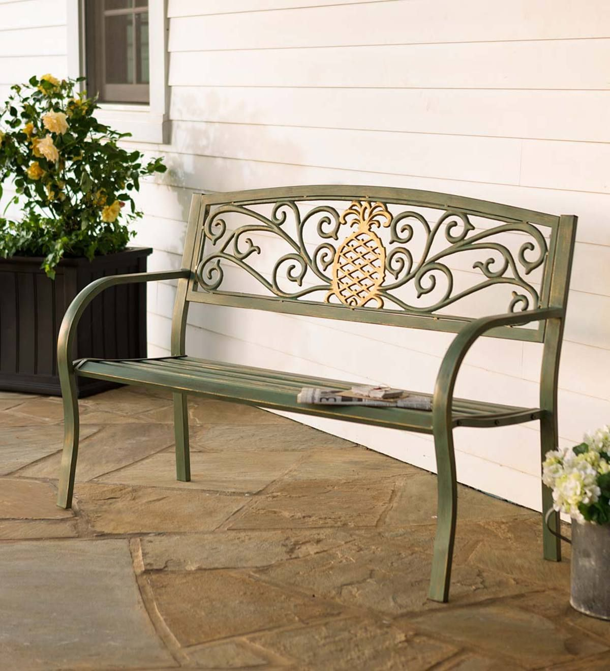 Pineapple Metal Garden Bench Metal Garden Benches Outdoor