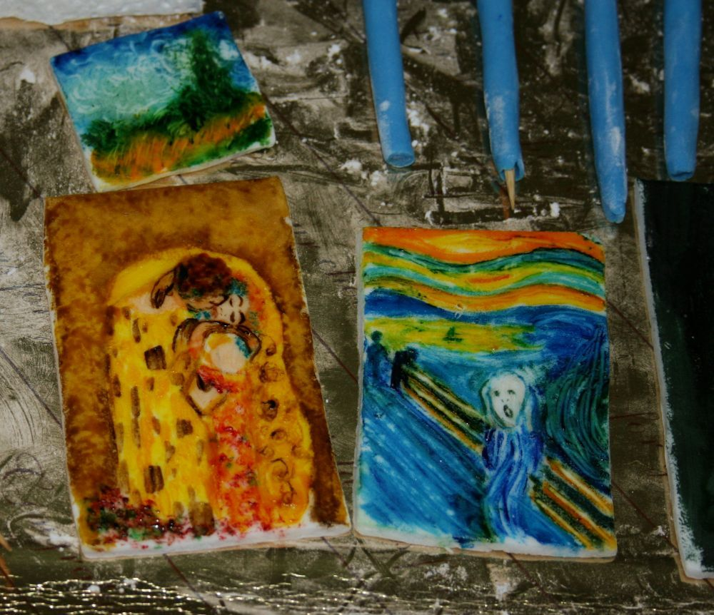 quadri famosi in pasta di zucchero dipinta con colori alimentari