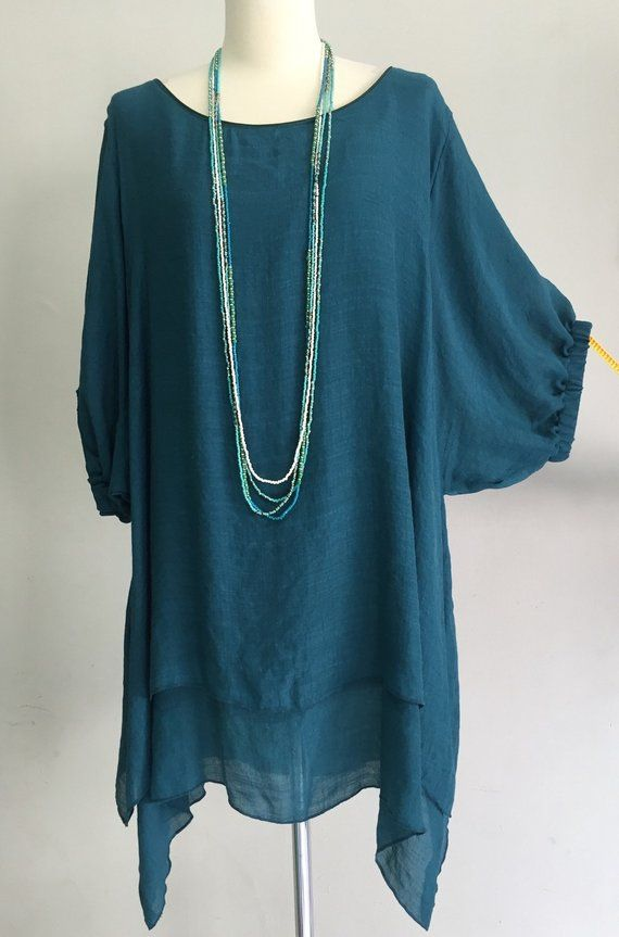 2cbc82126af5 Women Plus Size 2XL 3XL Dark Green Teal 2 Layers Cotton Party Top Shirt  Tunic Blouse Boat Neckline D