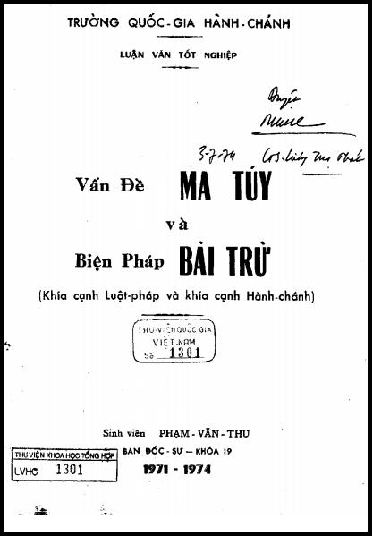 Luận Văn Tốt Nghiệp - Vấn Đề Ma Túy Và Biện Pháp Bài Trừ   Sách Việt Nam