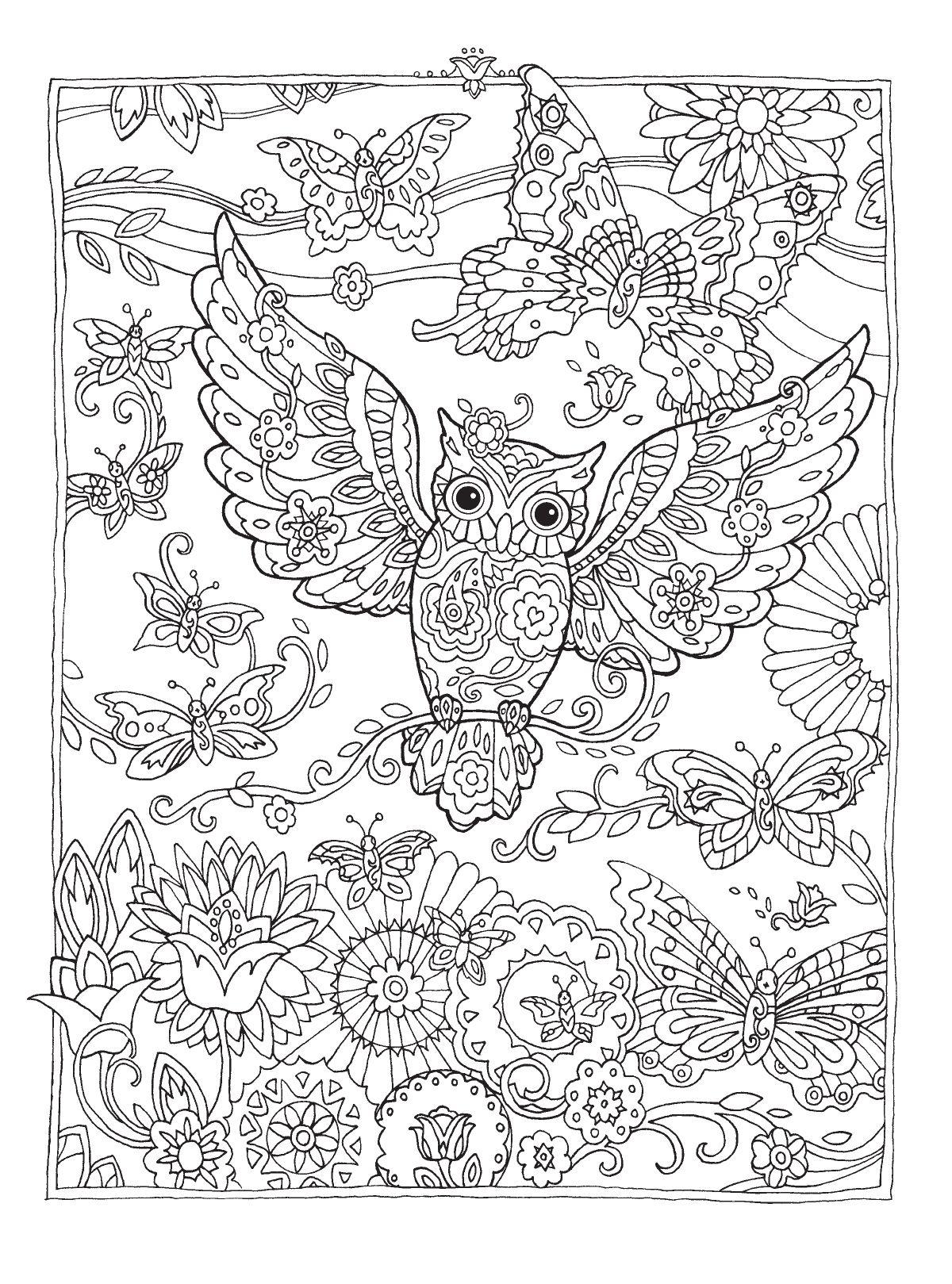 раскраска сова антистресс с цветочками | Раскраски ...
