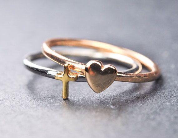 Cross ring sideways cross ring heart ring gold by JubileJewel