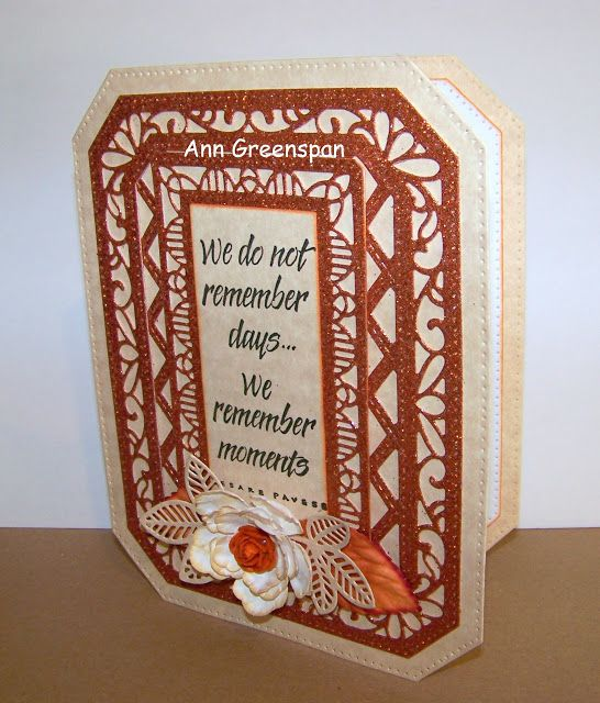 Dies R Us: Glittery Ornate Pierced Rectangle Card by Ann