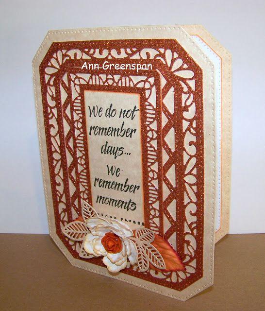 Dies R Us: Glittery Ornate Pierced Rectangle Card by Ann