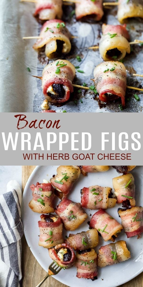 Figs wrapped in bacon with goat cheese with herbs - An easy appetizer idea! Figs wrapped in bacon w