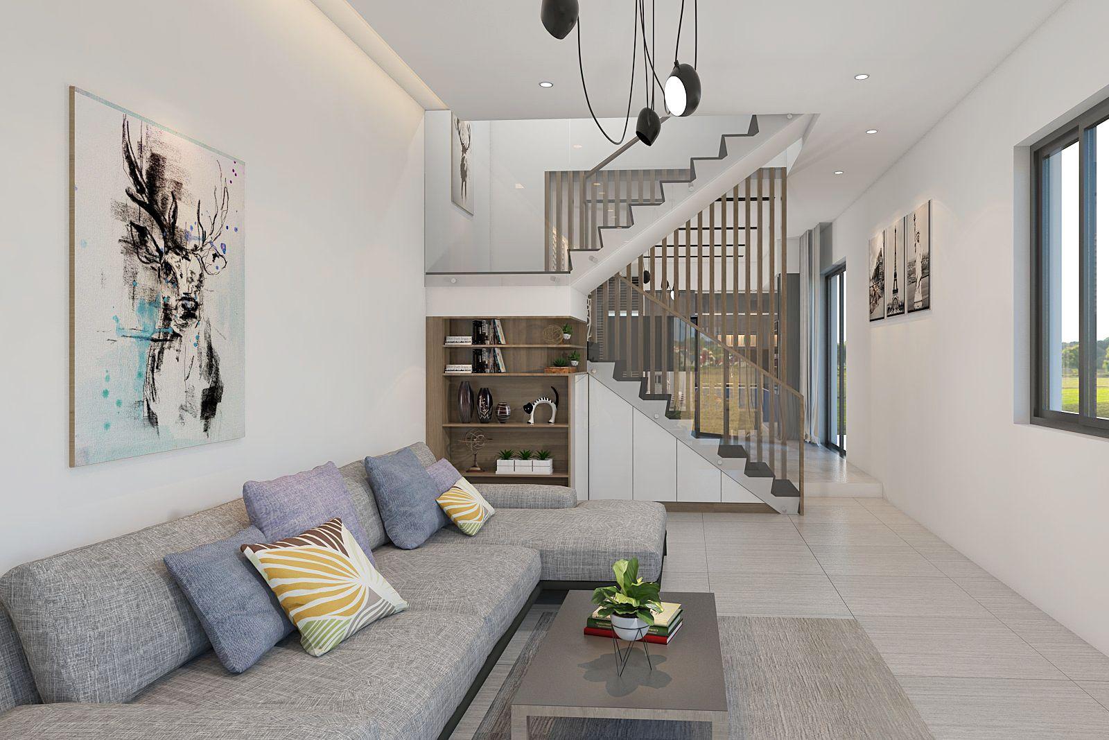 mẫu thiết kế nội thất phòng khách nhà ống tại quảng ngãi