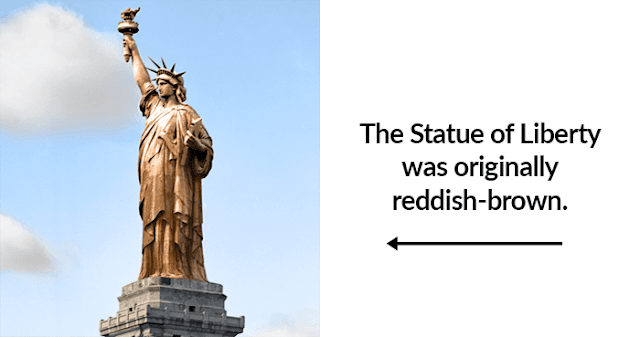 The Statue Of Liberty Was Originally A Dull Copper Color But After 20 Years It Oxidized And Was Covered In Green Petina Statue Of Liberty Statue Copper Color