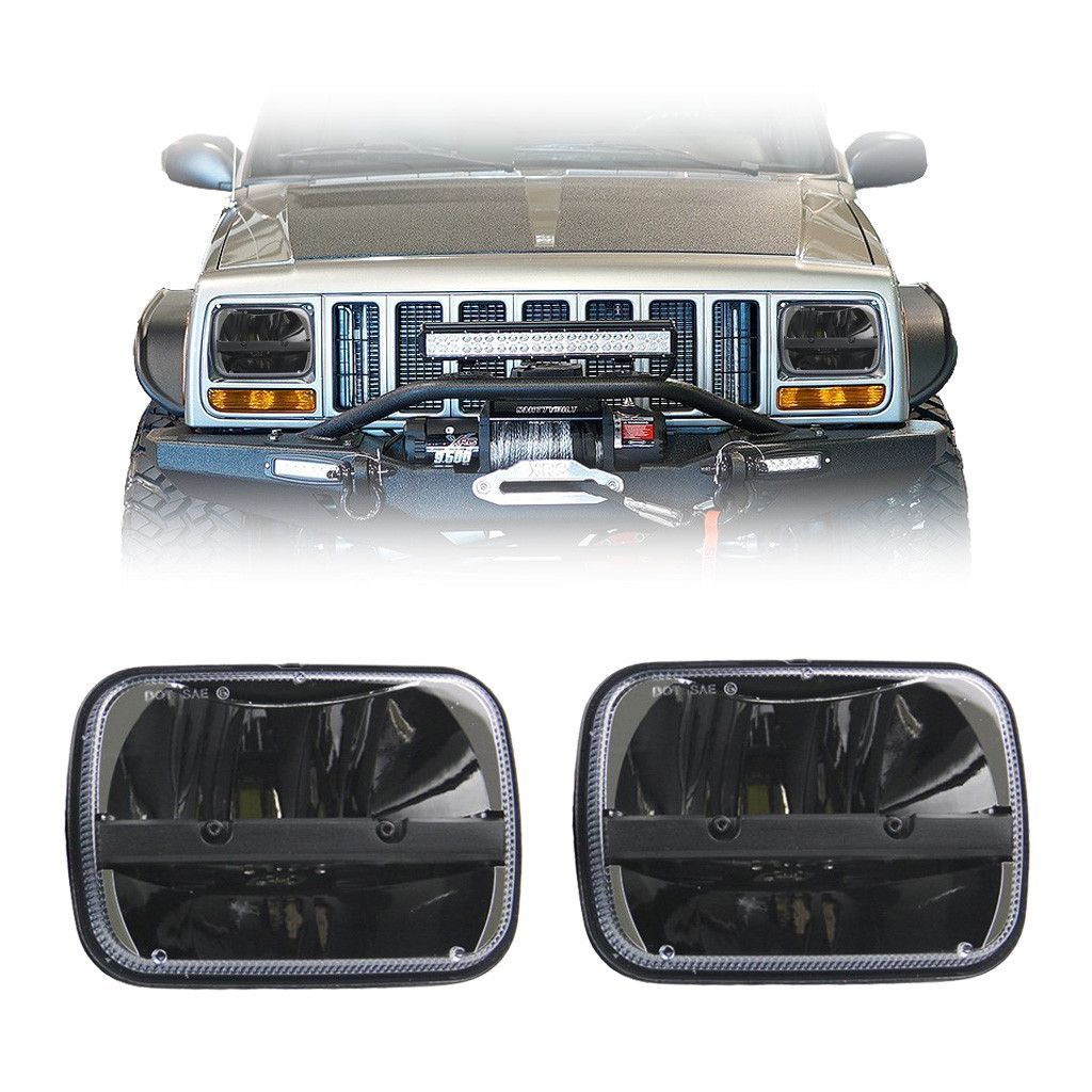 7x6 5x7 Inch Half Moon Square Led Headlights Pair Jeep Xj Yj