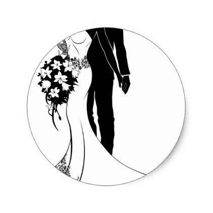 Bride and groom wedding silhouette classic round sticker wedding bride and groom wedding silhouette classic round sticker wedding stickers unique design cool sticker gift junglespirit Gallery