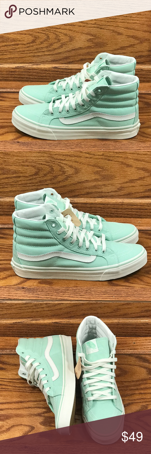 76b72fa736be8e Vans Sk8 Hi Slim Gossamer Green Blanc de Blanc Vans Sk8 Hi Slim Gossamer  Green Blanc de Blanc Skate Shoes Brand new in box Vans Shoes Athletic Shoes