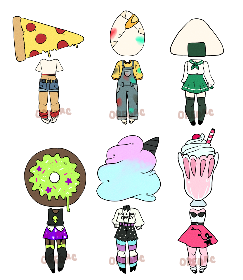 Food Object Head Adoptables: 3/6 by oreorc.deviantart.com on @DeviantArt