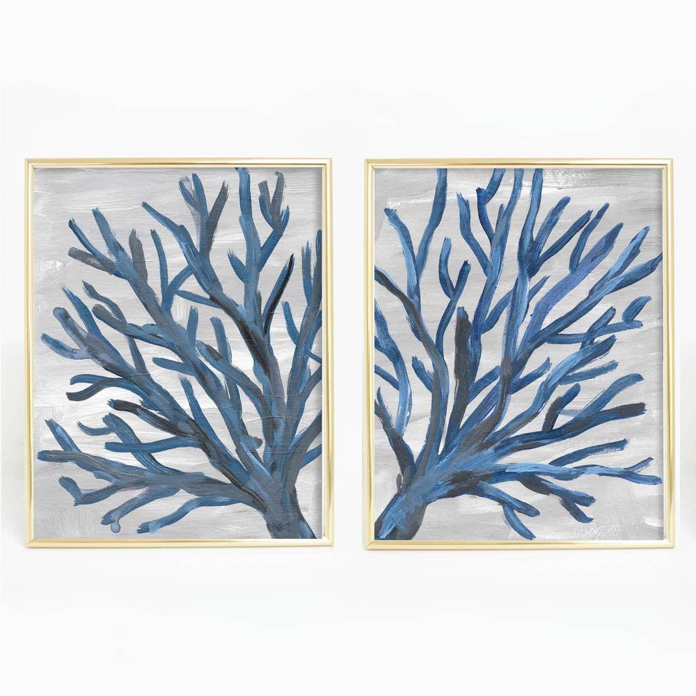 Navy blue coral sea fan duo art print set of