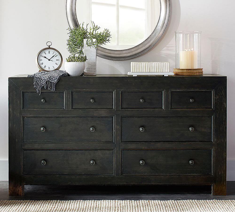 Dawson dresser weathered black finish chest of drawers